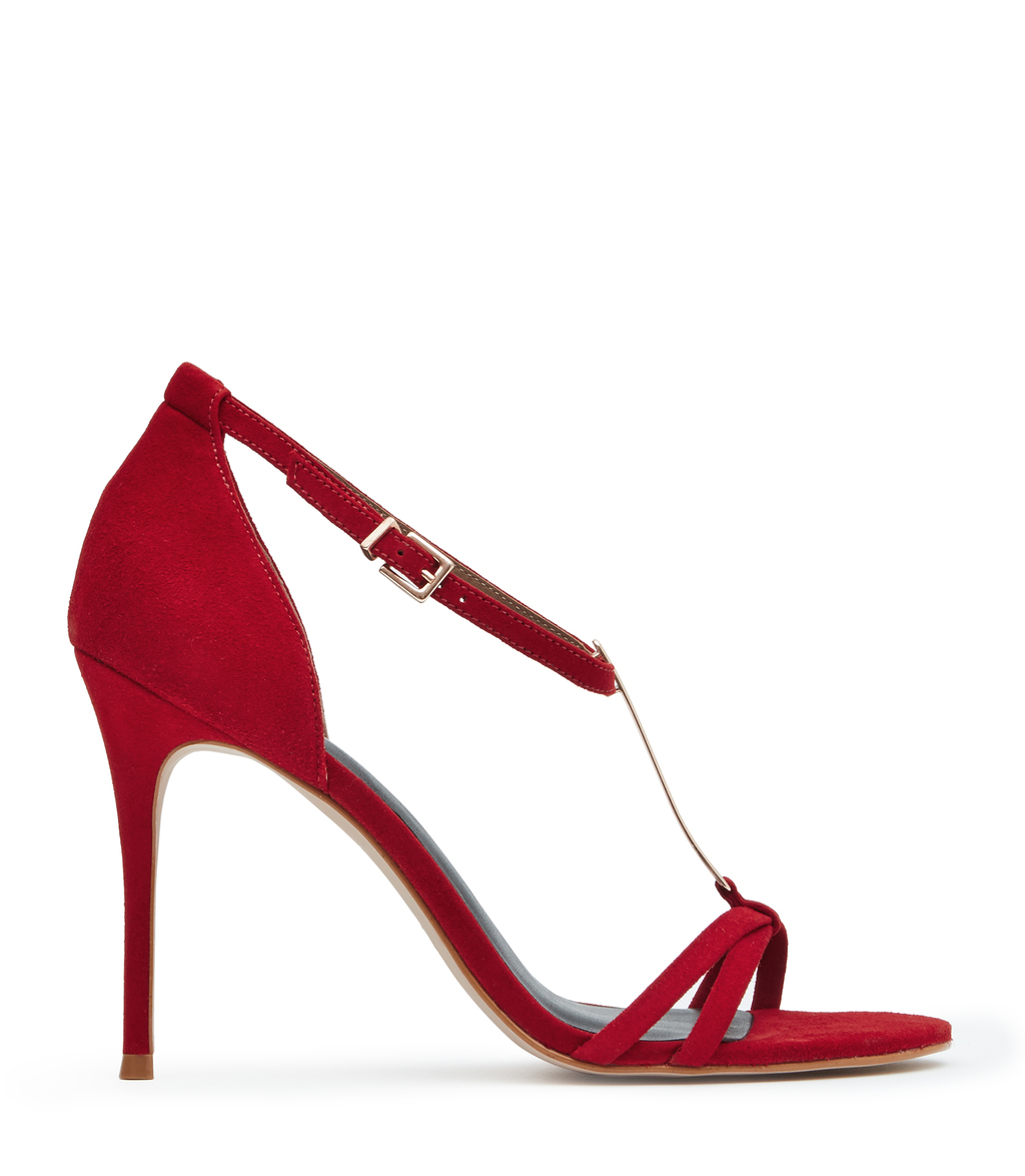 Ariana Womens T Bar Sandals In Red - predominant colour: true red; occasions: evening; material: leather; heel height: high; ankle detail: ankle strap; heel: stiletto; toe: open toe/peeptoe; style: strappy; finish: plain; pattern: plain; season: s/s 2016; wardrobe: event