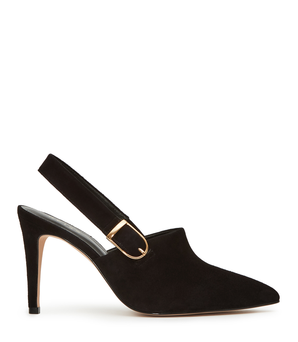 Sass Womens Buckled Point Toe Shoe In Black - predominant colour: black; occasions: evening; material: leather; heel height: high; heel: stiletto; toe: pointed toe; style: slingbacks; finish: plain; pattern: plain; season: s/s 2016