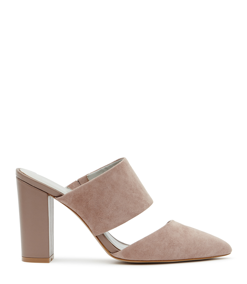 Cupid Womens Suede Mules In Red - predominant colour: nude; occasions: evening; material: suede; heel height: high; heel: block; toe: pointed toe; style: courts; finish: plain; pattern: plain; season: s/s 2016; wardrobe: event