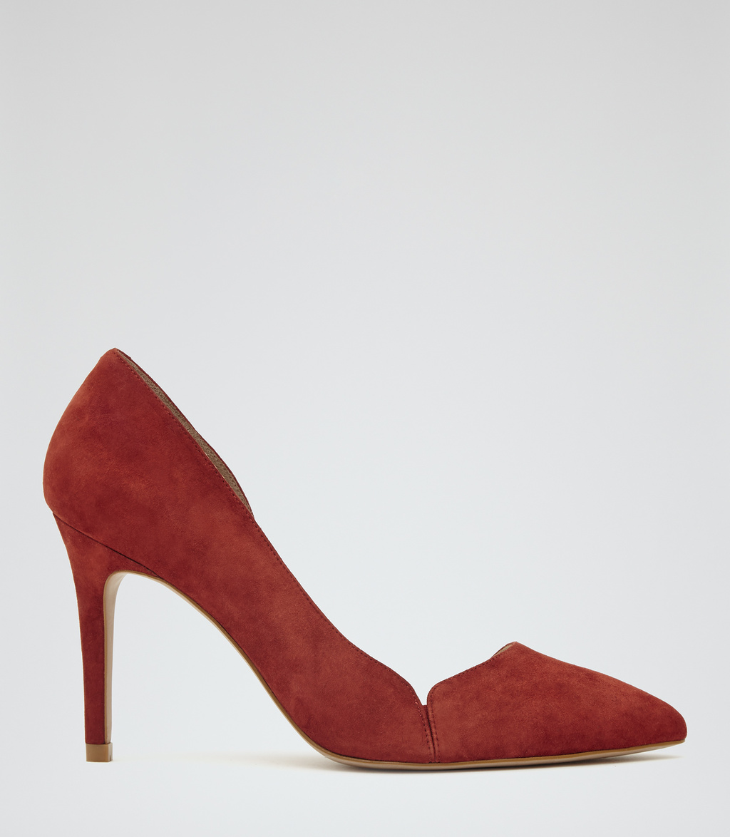 Venetia Womens Suede Court Shoes In Red - predominant colour: true red; occasions: evening; material: suede; heel height: high; heel: stiletto; toe: pointed toe; style: courts; finish: plain; pattern: plain; season: s/s 2016; wardrobe: event