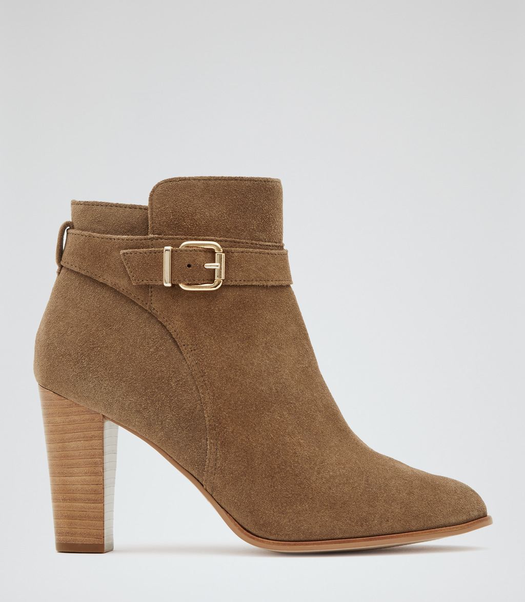 Imogen Suede Womens Suede Ankle Boots In Brown - predominant colour: tan; occasions: casual, creative work; material: suede; heel height: high; heel: block; toe: round toe; boot length: ankle boot; style: standard; finish: plain; pattern: plain; season: s/s 2016; wardrobe: highlight
