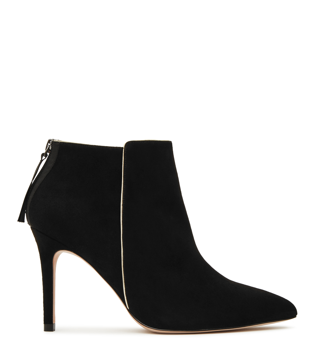 Breton Womens Metallic Trim Ankle Boots In Black - predominant colour: black; occasions: casual; material: suede; heel height: high; heel: stiletto; toe: pointed toe; boot length: ankle boot; style: standard; finish: plain; pattern: plain; season: s/s 2016; wardrobe: highlight