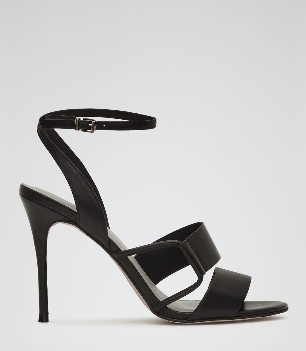 Josephine Womens Strappy Sandals In Black - predominant colour: black; occasions: evening; material: leather; heel height: high; ankle detail: ankle strap; heel: stiletto; toe: open toe/peeptoe; style: strappy; finish: plain; pattern: plain; season: s/s 2016; wardrobe: event