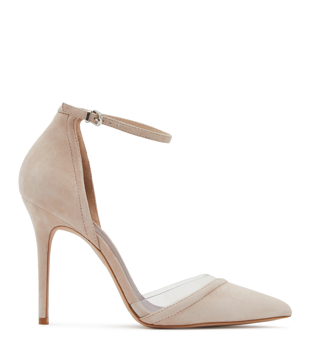 Gaia Womens Suede And Vinyl Shoes In White - predominant colour: ivory/cream; occasions: evening, occasion; material: leather; heel height: high; ankle detail: ankle strap; heel: stiletto; toe: pointed toe; style: courts; finish: plain; pattern: plain; season: s/s 2016
