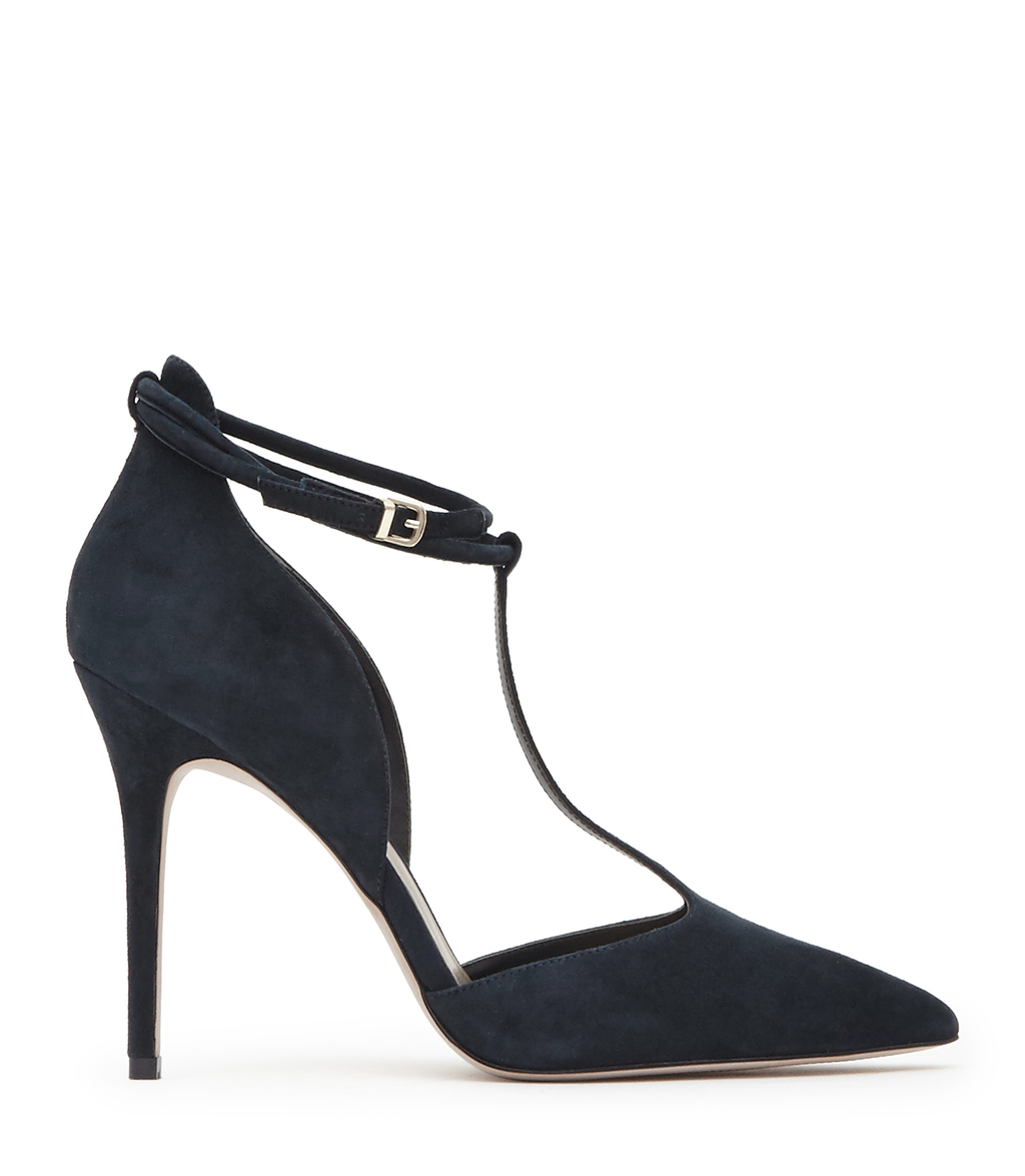 Cary Suede Womens T Bar Shoes In Blue - predominant colour: navy; occasions: evening, occasion; material: suede; heel height: high; ankle detail: ankle strap; heel: stiletto; toe: pointed toe; style: t-bar; finish: plain; pattern: plain; season: s/s 2016; wardrobe: event