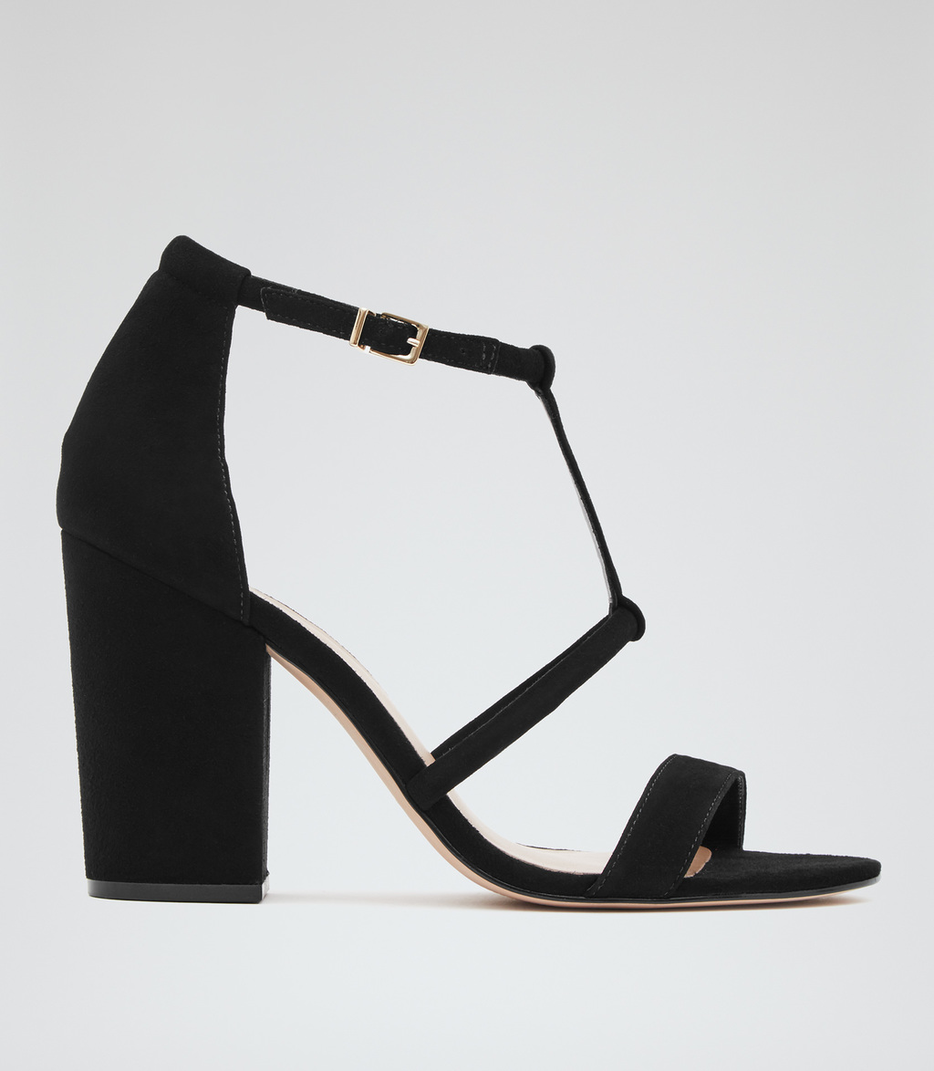 Moretz Womens Block Heel Suede Sandals In Black - predominant colour: black; occasions: evening; material: suede; heel height: high; ankle detail: ankle strap; heel: block; toe: open toe/peeptoe; style: strappy; finish: plain; pattern: plain; season: s/s 2016