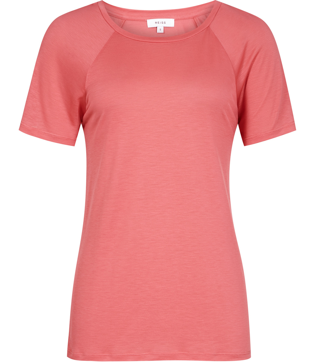 Tamara Womens Jersey T Shirt In Pink - pattern: plain; style: t-shirt; predominant colour: pink; occasions: casual; length: standard; fibres: viscose/rayon - 100%; fit: body skimming; neckline: crew; sleeve length: short sleeve; sleeve style: standard; pattern type: fabric; texture group: jersey - stretchy/drapey; season: s/s 2016
