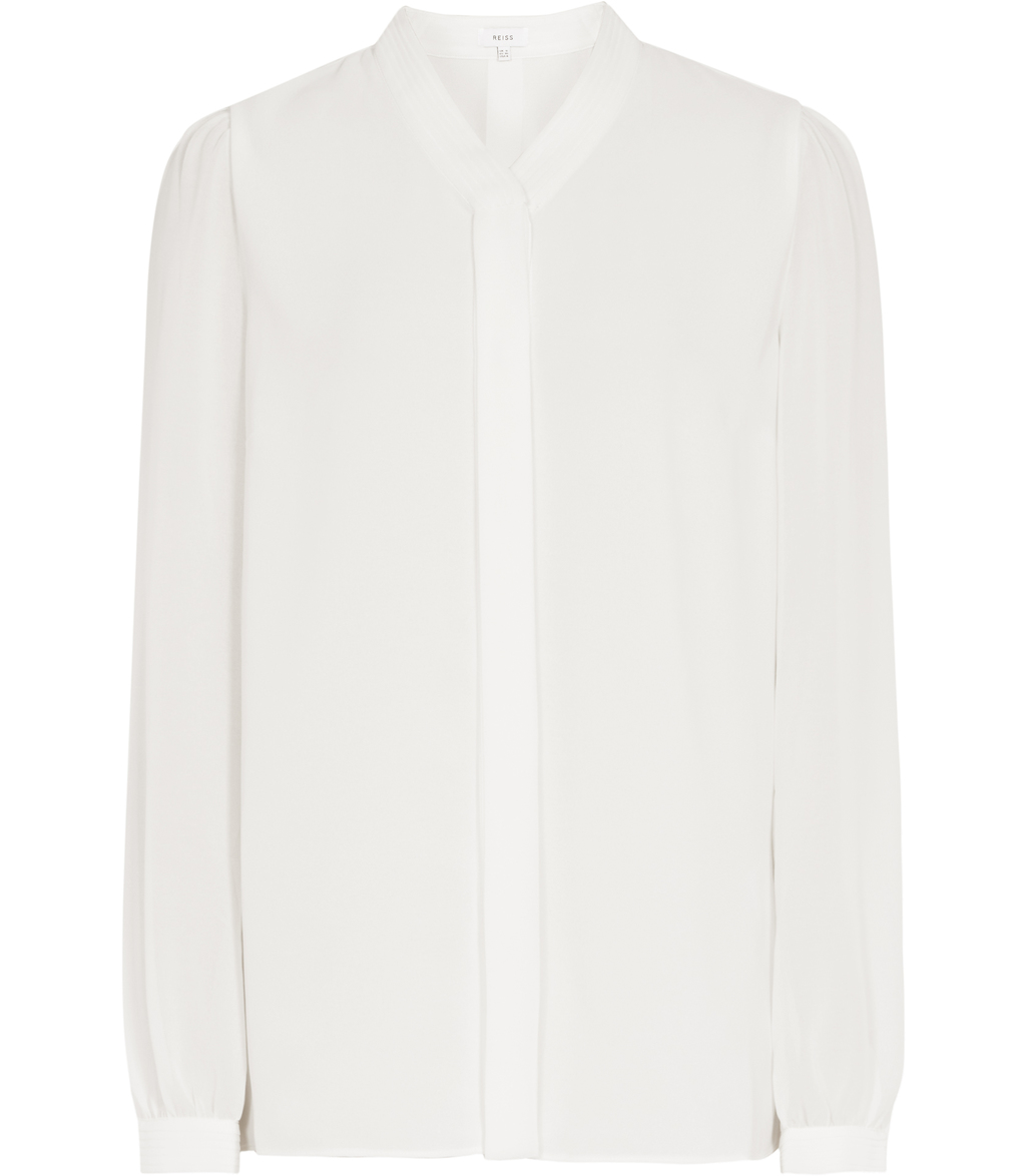 Quinn Womens Plisse Detail Blouse In White - neckline: shirt collar/peter pan/zip with opening; pattern: plain; style: shirt; predominant colour: white; occasions: evening; length: standard; fibres: polyester/polyamide - 100%; fit: body skimming; sleeve length: long sleeve; sleeve style: standard; pattern type: fabric; texture group: other - light to midweight; season: s/s 2016; wardrobe: event
