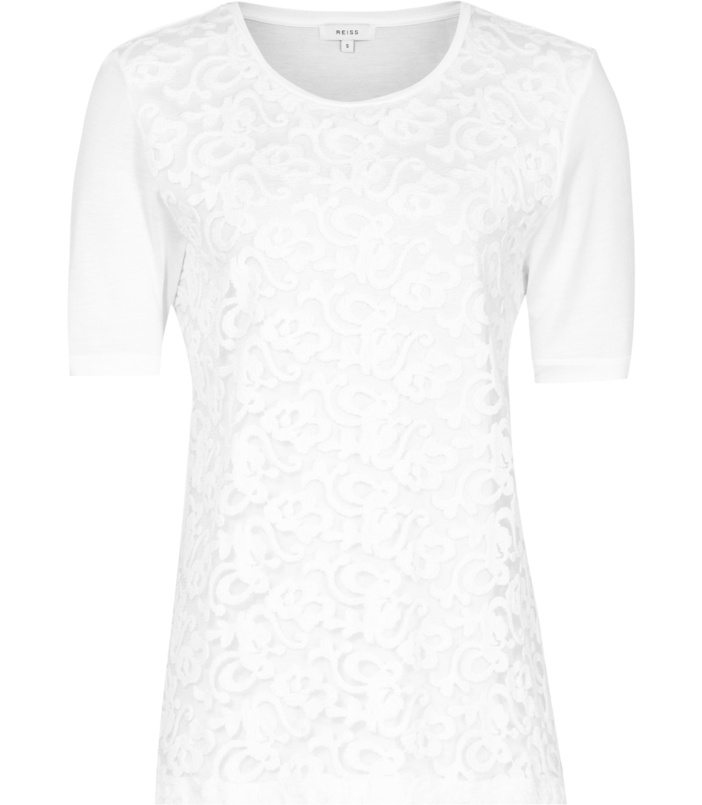 Yoko Womens Lace Front T Shirt In White - predominant colour: white; occasions: evening; length: standard; style: top; fibres: viscose/rayon - 100%; fit: body skimming; neckline: crew; sleeve length: short sleeve; sleeve style: standard; texture group: lace; pattern type: fabric; pattern: patterned/print; season: s/s 2016; wardrobe: event