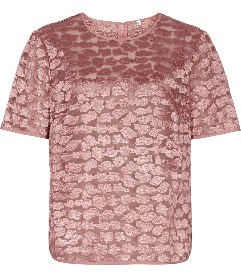 Ora Womens Short Sleeved Evening Top In Pink - predominant colour: pink; occasions: evening; length: standard; style: top; fibres: nylon - 100%; fit: body skimming; neckline: crew; sleeve length: short sleeve; sleeve style: standard; pattern type: fabric; pattern: patterned/print; texture group: woven light midweight; embellishment: embroidered; season: s/s 2016; wardrobe: event
