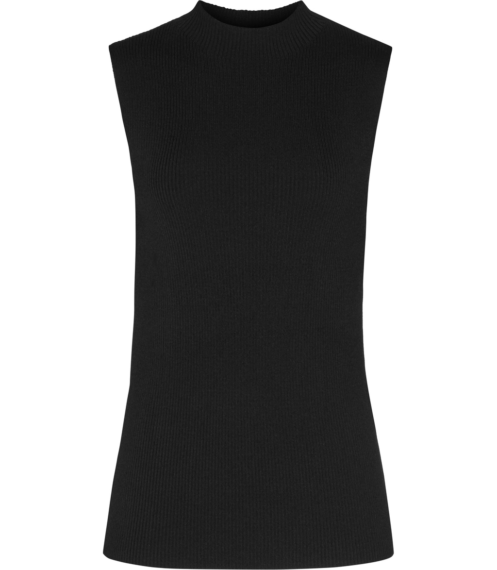 Aida Womens High Neck Sleeveless Knit In Black - pattern: plain; sleeve style: sleeveless; neckline: high neck; style: standard; predominant colour: black; occasions: evening; length: standard; fibres: viscose/rayon - stretch; fit: slim fit; sleeve length: sleeveless; pattern type: fabric; texture group: jersey - stretchy/drapey; season: s/s 2016; wardrobe: event