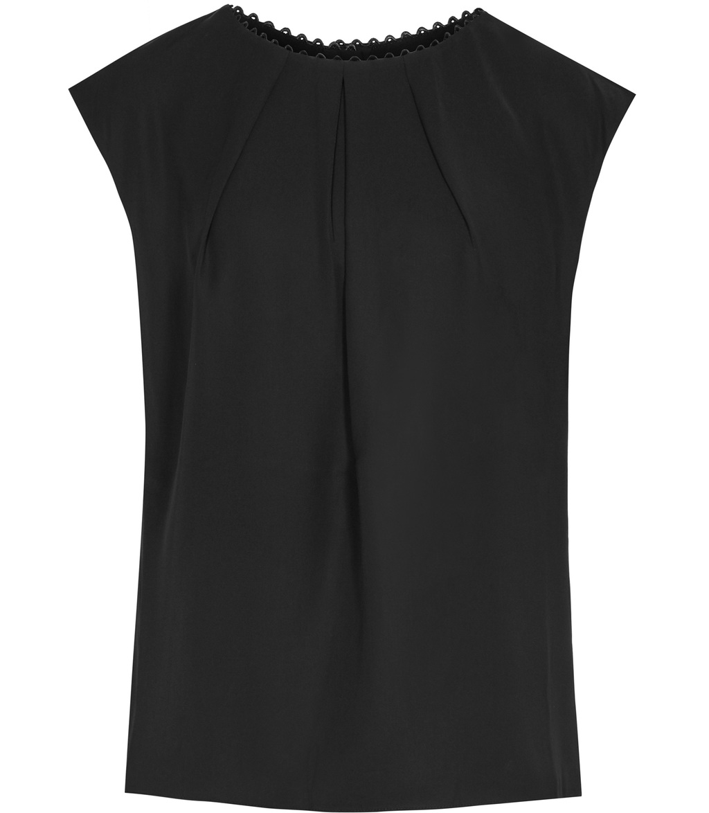 Livia Womens Button Back Top In Black - pattern: plain; sleeve style: sleeveless; predominant colour: black; occasions: casual; length: standard; style: top; fibres: polyester/polyamide - 100%; fit: body skimming; neckline: crew; sleeve length: sleeveless; pattern type: fabric; texture group: other - light to midweight; season: s/s 2016; wardrobe: basic