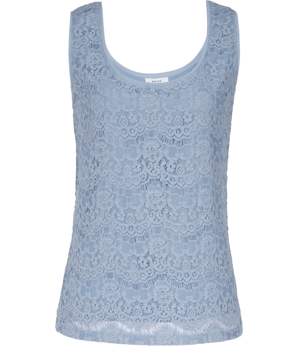 Joselyn Womens Lace Tank Top In Blue - neckline: round neck; sleeve style: sleeveless; style: vest top; predominant colour: pale blue; occasions: evening; length: standard; fibres: viscose/rayon - 100%; fit: body skimming; sleeve length: sleeveless; texture group: lace; pattern type: fabric; pattern: patterned/print; embellishment: lace; season: s/s 2016; wardrobe: event