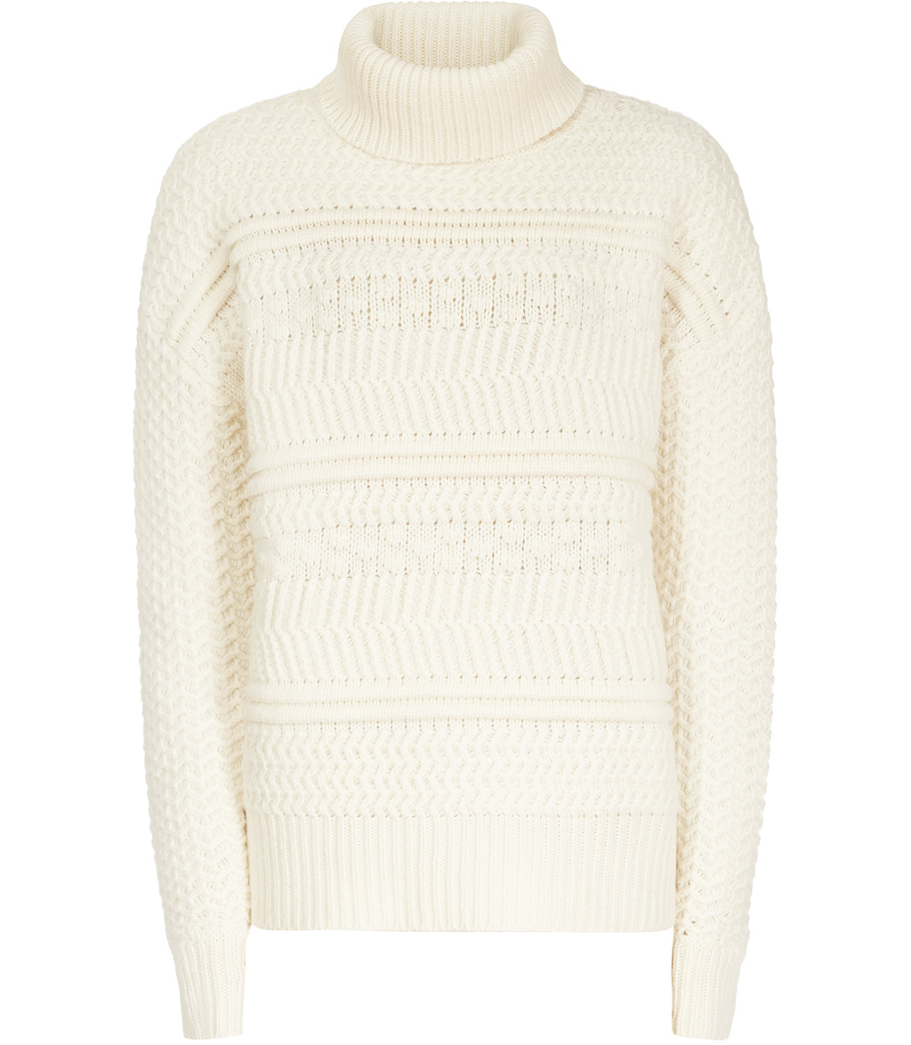 Austen Womens Chunky Roll Neck Jumper In White - pattern: plain; neckline: roll neck; style: standard; predominant colour: white; occasions: casual; length: standard; fibres: wool - mix; fit: loose; sleeve length: long sleeve; sleeve style: standard; texture group: knits/crochet; pattern type: knitted - fine stitch; season: s/s 2016; wardrobe: basic