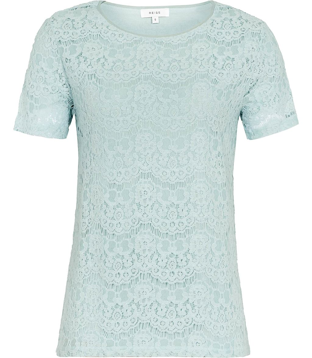 Rayee Womens Lace T Shirt In Green - style: t-shirt; predominant colour: pale blue; occasions: evening; length: standard; fibres: viscose/rayon - 100%; fit: body skimming; neckline: crew; sleeve length: short sleeve; sleeve style: standard; texture group: lace; pattern type: fabric; pattern size: standard; pattern: patterned/print; season: s/s 2016; wardrobe: event