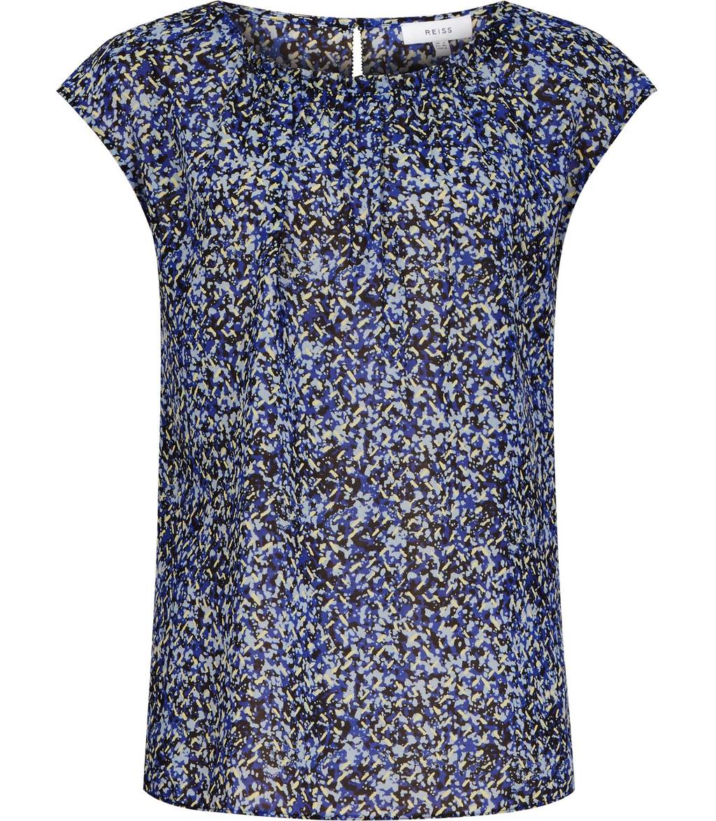 Victoria Womens Printed Chiffon Top In Blue - sleeve style: capped; predominant colour: navy; secondary colour: black; occasions: casual; length: standard; style: top; fibres: silk - 100%; fit: body skimming; neckline: crew; sleeve length: short sleeve; texture group: silky - light; pattern type: fabric; pattern: patterned/print; multicoloured: multicoloured; season: s/s 2016; wardrobe: highlight