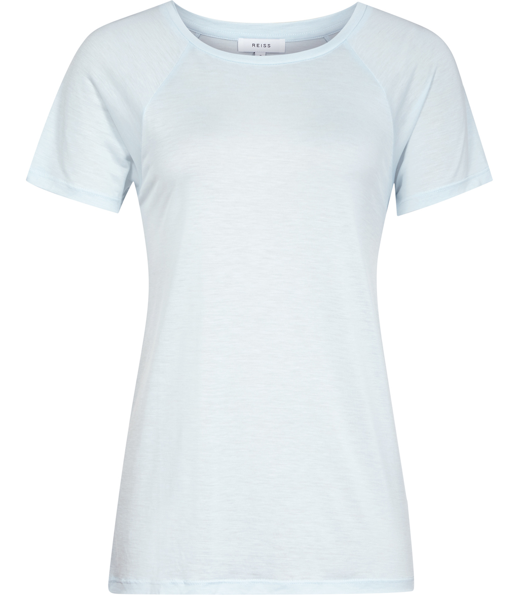 Tamara Womens Jersey T Shirt In Blue - pattern: plain; style: t-shirt; predominant colour: pale blue; occasions: casual; length: standard; fibres: viscose/rayon - 100%; fit: body skimming; neckline: crew; sleeve length: short sleeve; sleeve style: standard; pattern type: fabric; texture group: jersey - stretchy/drapey; season: s/s 2016; wardrobe: highlight