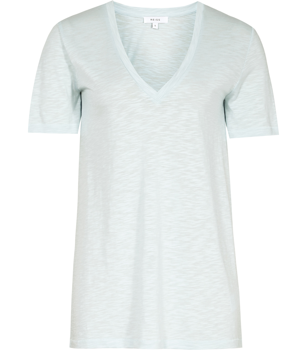 Willa Womens Linen Mix T Shirt In Blue - neckline: v-neck; pattern: plain; predominant colour: pale blue; occasions: casual; length: standard; style: top; fibres: linen - mix; fit: body skimming; sleeve length: short sleeve; sleeve style: standard; pattern type: fabric; texture group: jersey - stretchy/drapey; season: s/s 2016