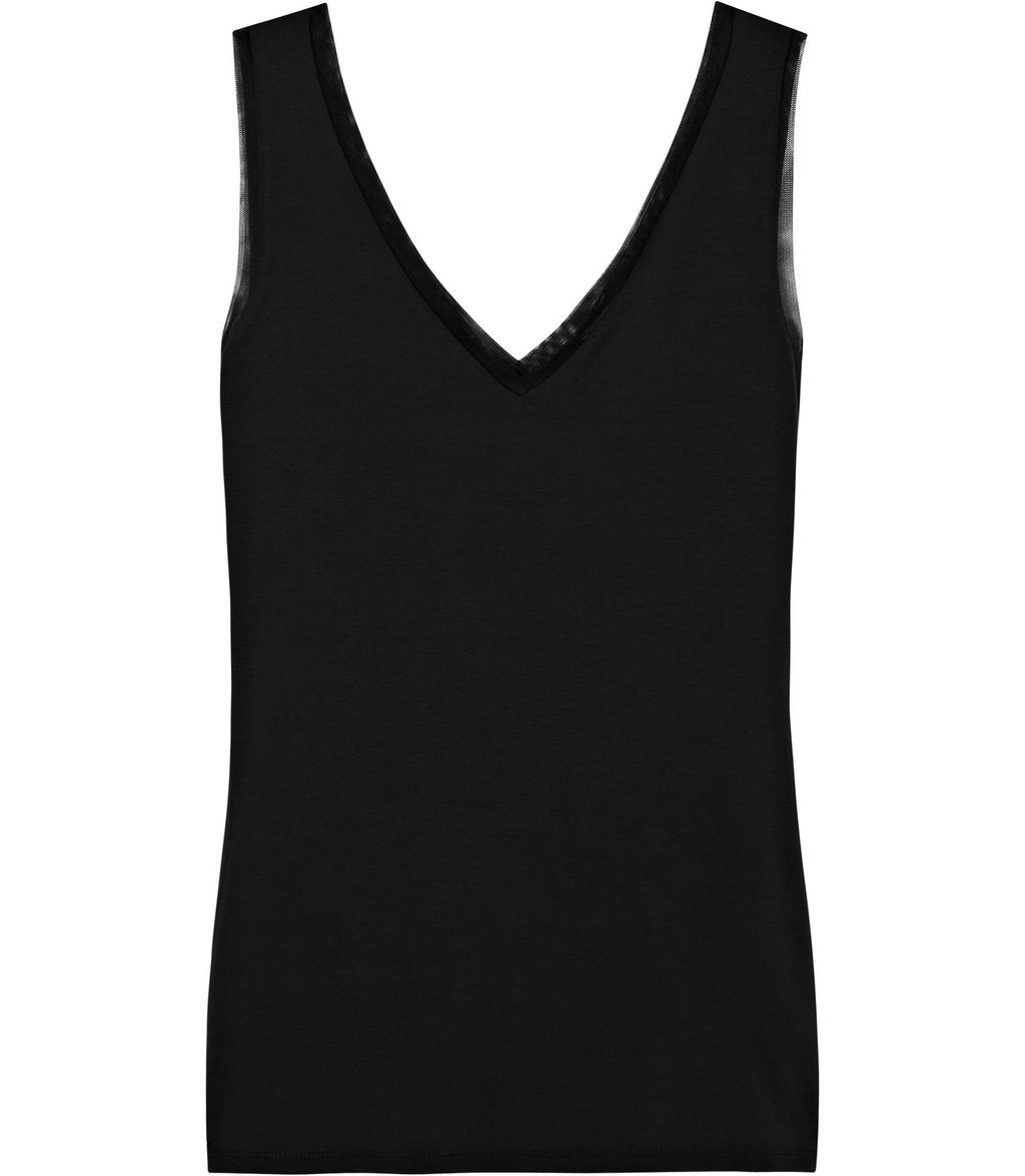 Ona Womens V Neck Tank Top In Black - neckline: low v-neck; pattern: plain; sleeve style: sleeveless; style: vest top; predominant colour: black; occasions: casual; length: standard; fibres: viscose/rayon - stretch; fit: body skimming; sleeve length: sleeveless; pattern type: fabric; texture group: jersey - stretchy/drapey; season: s/s 2016; wardrobe: basic