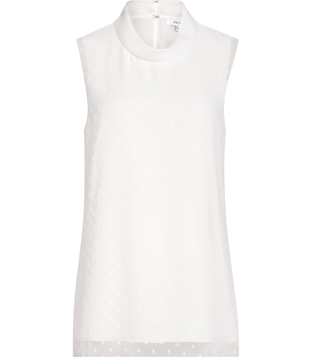 Sandy Womens High Neck Polkadot Top In White - pattern: plain; sleeve style: sleeveless; neckline: high neck; predominant colour: white; occasions: casual; length: standard; style: top; fibres: polyester/polyamide - 100%; fit: body skimming; sleeve length: sleeveless; texture group: sheer fabrics/chiffon/organza etc.; pattern type: fabric; season: s/s 2016; wardrobe: basic