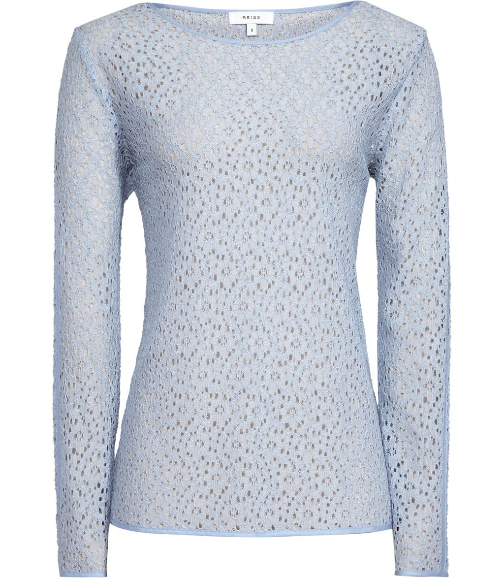 Jane Womens Lace Top In Blue - predominant colour: pale blue; occasions: casual; length: standard; style: top; fibres: polyester/polyamide - 100%; fit: body skimming; neckline: crew; sleeve length: long sleeve; sleeve style: standard; texture group: lace; pattern type: fabric; pattern: patterned/print; season: s/s 2016; wardrobe: highlight