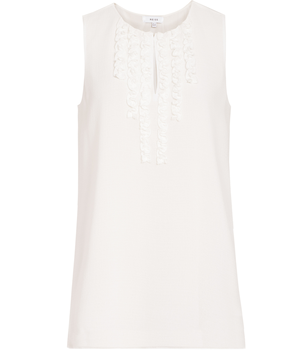 Seirra Womens Ruffle Front Top In White - pattern: plain; sleeve style: sleeveless; predominant colour: white; occasions: casual; length: standard; style: top; neckline: peep hole neckline; fibres: polyester/polyamide - 100%; fit: body skimming; sleeve length: sleeveless; bust detail: tiers/frills/bulky drapes/pleats; pattern type: fabric; texture group: other - light to midweight; season: s/s 2016; wardrobe: highlight