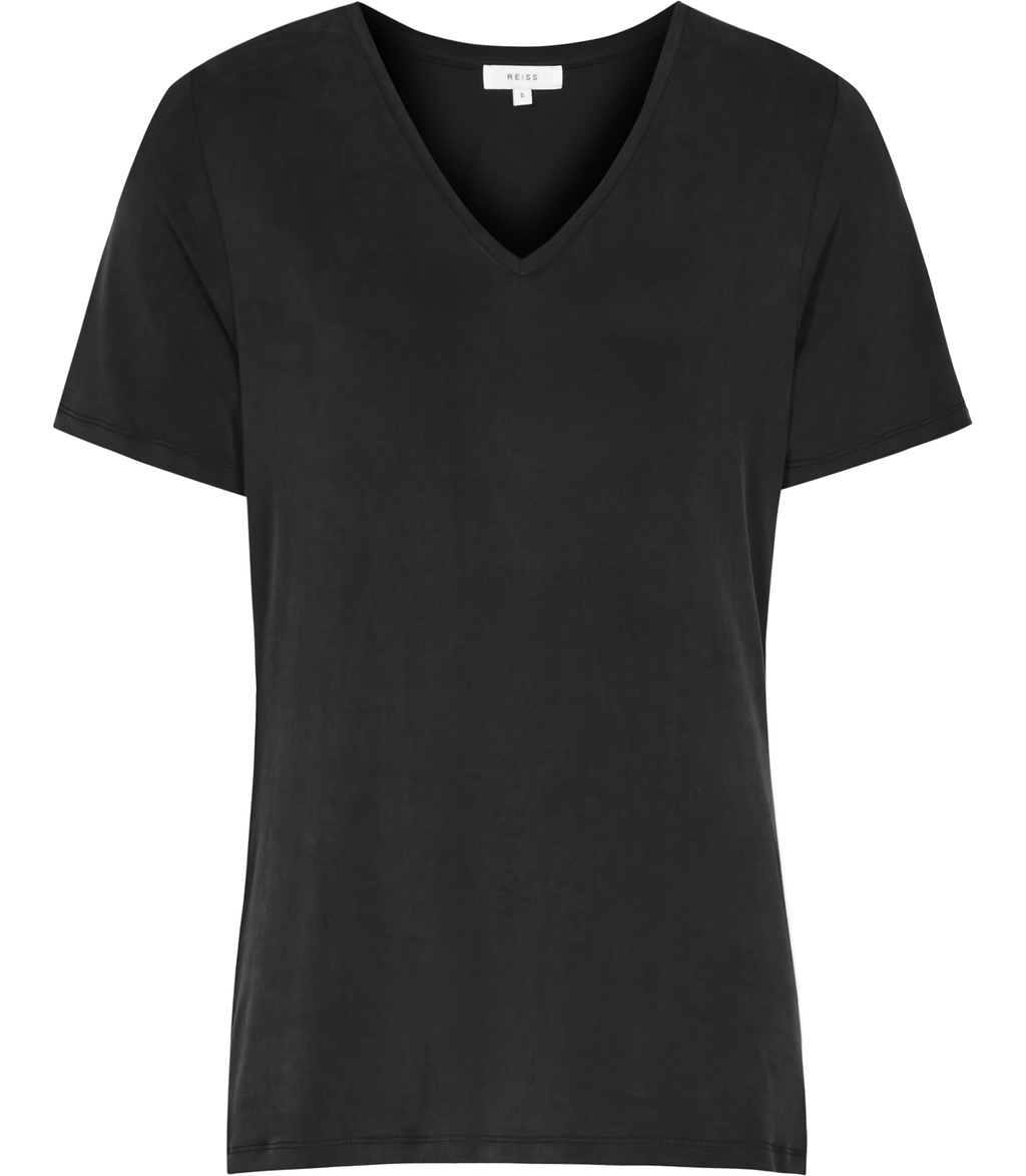Swan Womens Cupro Front T Shirt In Blue - neckline: v-neck; pattern: plain; style: t-shirt; predominant colour: black; occasions: casual; length: standard; fibres: viscose/rayon - 100%; fit: body skimming; sleeve length: short sleeve; sleeve style: standard; pattern type: fabric; texture group: jersey - stretchy/drapey; season: s/s 2016; wardrobe: basic