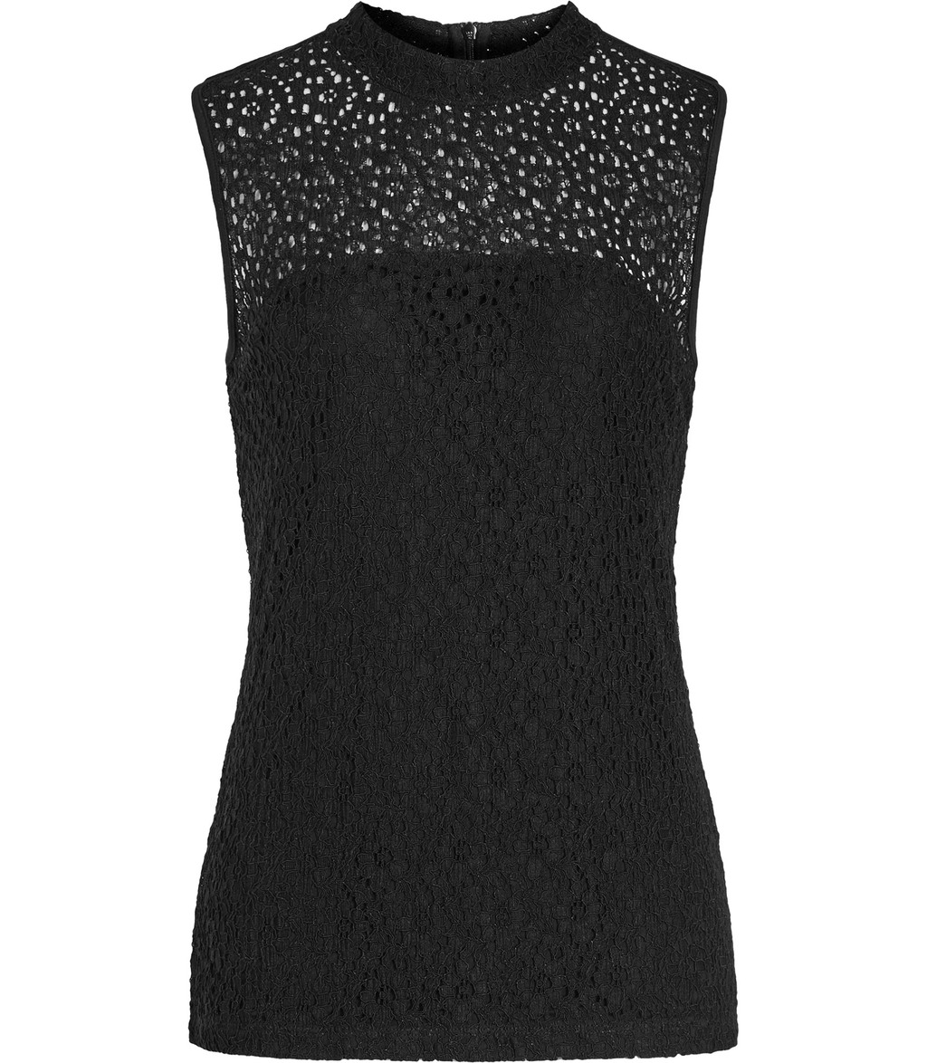 Leigh Womens High Neck Lace Top In Black - pattern: plain; sleeve style: sleeveless; length: below the bottom; predominant colour: black; occasions: evening, occasion; style: top; fit: body skimming; neckline: crew; sleeve length: sleeveless; pattern type: fabric; texture group: jersey - stretchy/drapey; fibres: viscose/rayon - mix; season: s/s 2016; wardrobe: event; embellishment: contrast fabric; embellishment location: bust