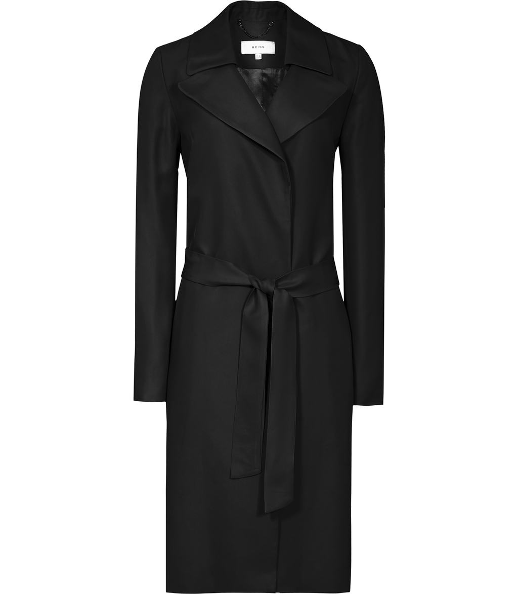Dafne Womens Belted Mac In Black - pattern: plain; style: wrap around; collar: standard lapel/rever collar; length: mid thigh; predominant colour: black; occasions: work; fit: tailored/fitted; fibres: wool - mix; waist detail: belted waist/tie at waist/drawstring; sleeve length: long sleeve; sleeve style: standard; collar break: medium; pattern type: fabric; texture group: woven bulky/heavy; season: s/s 2016; wardrobe: investment