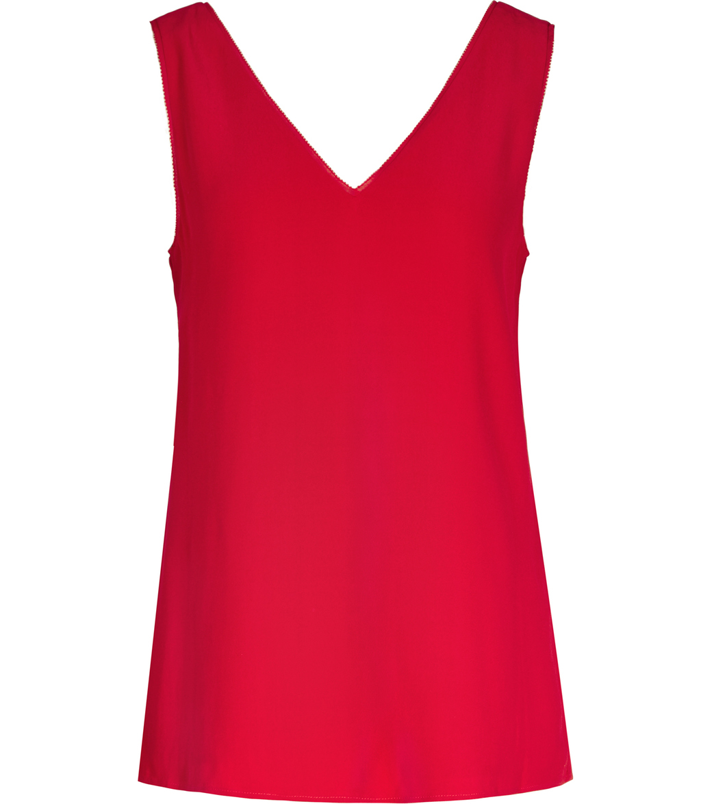 Jasmine Womens Button Back Vest In Red - neckline: low v-neck; sleeve style: standard vest straps/shoulder straps; pattern: plain; style: vest top; predominant colour: true red; occasions: casual, creative work; length: standard; fibres: polyester/polyamide - 100%; fit: straight cut; sleeve length: sleeveless; texture group: crepes; pattern type: fabric; season: s/s 2016