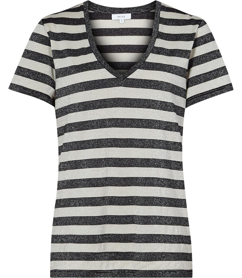 Novaa Womens Metallic Stripe T Shirt In White - neckline: v-neck; pattern: horizontal stripes; style: t-shirt; secondary colour: white; predominant colour: black; occasions: casual; length: standard; fibres: cotton - stretch; fit: body skimming; sleeve length: short sleeve; sleeve style: standard; texture group: jersey - clingy; pattern type: fabric; season: s/s 2016