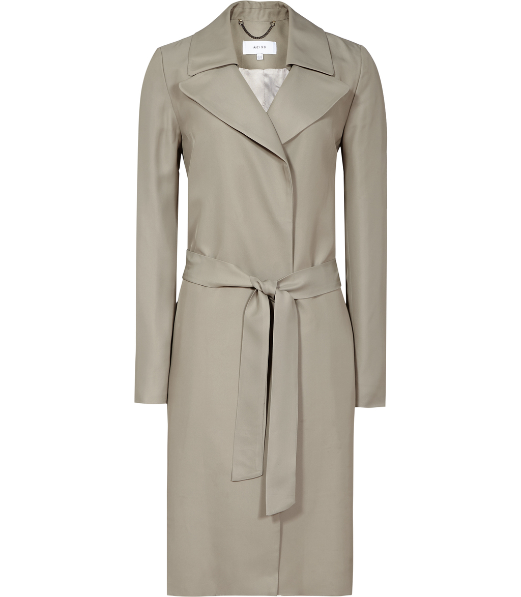 Dafne Womens Belted Mac In Brown - pattern: plain; style: trench coat; collar: standard lapel/rever collar; length: mid thigh; predominant colour: taupe; occasions: work; fit: tailored/fitted; fibres: viscose/rayon - 100%; waist detail: belted waist/tie at waist/drawstring; sleeve length: long sleeve; sleeve style: standard; collar break: medium; pattern type: fabric; texture group: other - light to midweight; season: s/s 2016; wardrobe: investment