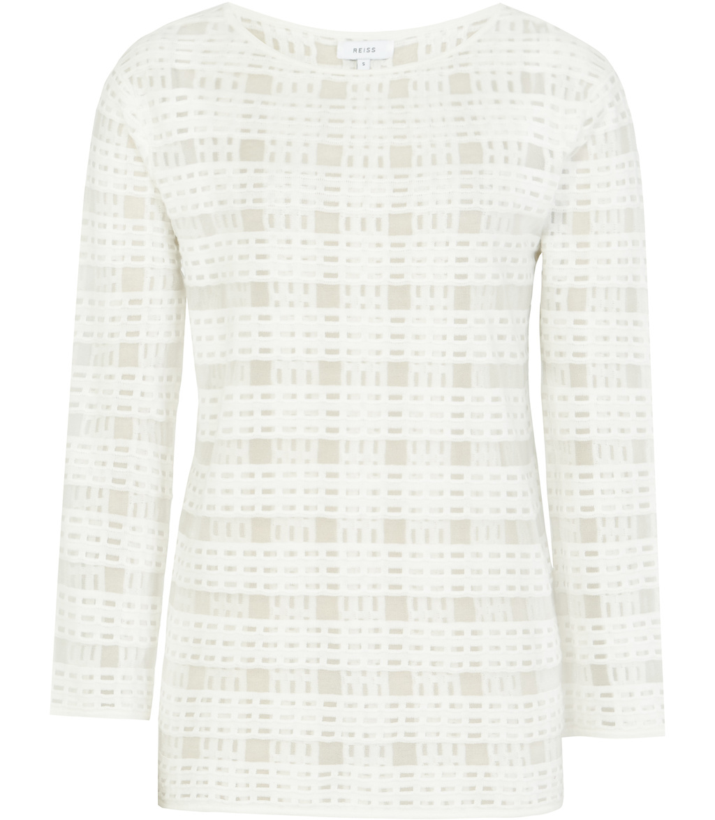 Burton Womens Check Stitch Top In White - pattern: checked/gingham; predominant colour: white; occasions: casual; length: standard; style: top; fibres: cotton - mix; fit: body skimming; neckline: crew; sleeve length: long sleeve; sleeve style: standard; pattern type: fabric; texture group: jersey - stretchy/drapey; season: s/s 2016; wardrobe: highlight