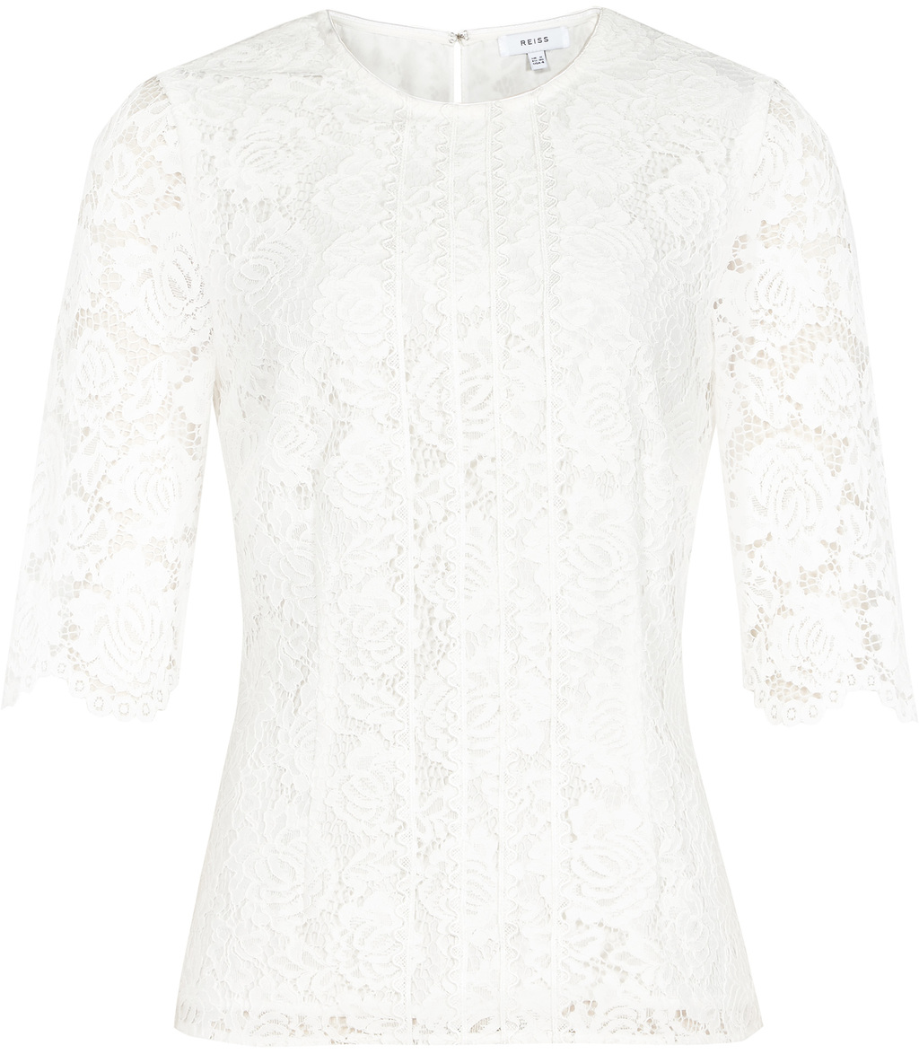Mitsy Womens Lace Top In White - predominant colour: white; occasions: evening; length: standard; style: top; fit: body skimming; neckline: crew; sleeve length: half sleeve; sleeve style: standard; texture group: lace; pattern type: fabric; pattern: patterned/print; fibres: viscose/rayon - mix; season: s/s 2016; wardrobe: event