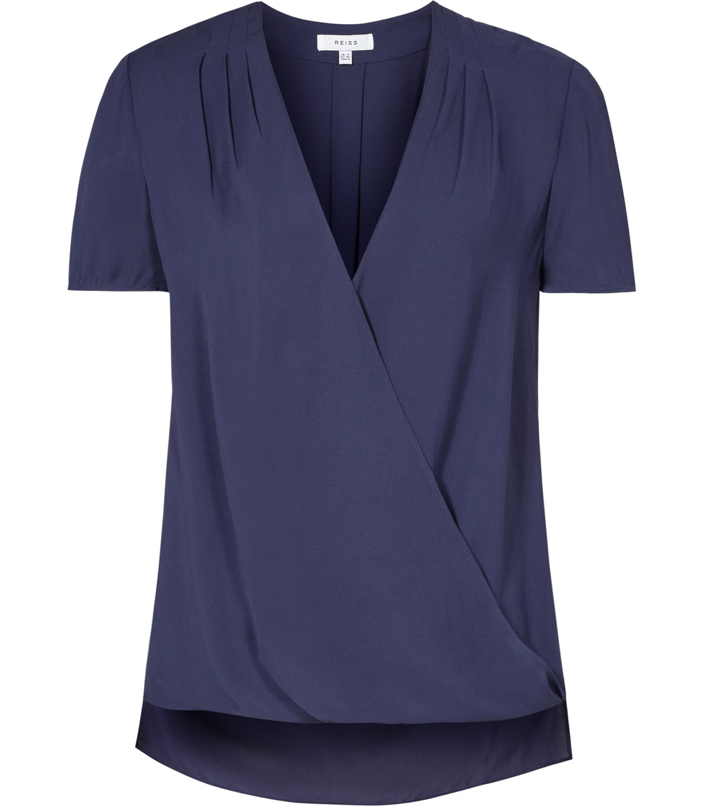 Bella Womens Wrap Top In Blue - neckline: v-neck; pattern: plain; style: wrap/faux wrap; predominant colour: navy; length: standard; fibres: polyester/polyamide - 100%; fit: straight cut; sleeve length: short sleeve; sleeve style: standard; texture group: crepes; pattern type: fabric; occasions: creative work; season: s/s 2016; wardrobe: basic