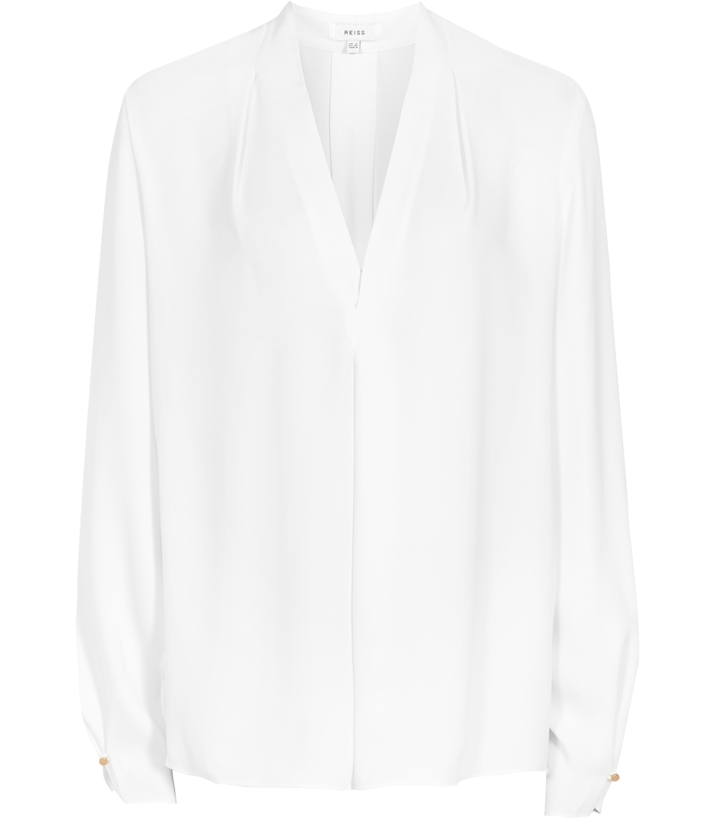 Mapel Womens Long Sleeved Wrap Top In White - neckline: v-neck; pattern: plain; style: wrap/faux wrap; predominant colour: white; occasions: work; length: standard; fibres: polyester/polyamide - 100%; fit: body skimming; sleeve length: long sleeve; sleeve style: standard; texture group: sheer fabrics/chiffon/organza etc.; pattern type: fabric; season: s/s 2016; wardrobe: basic