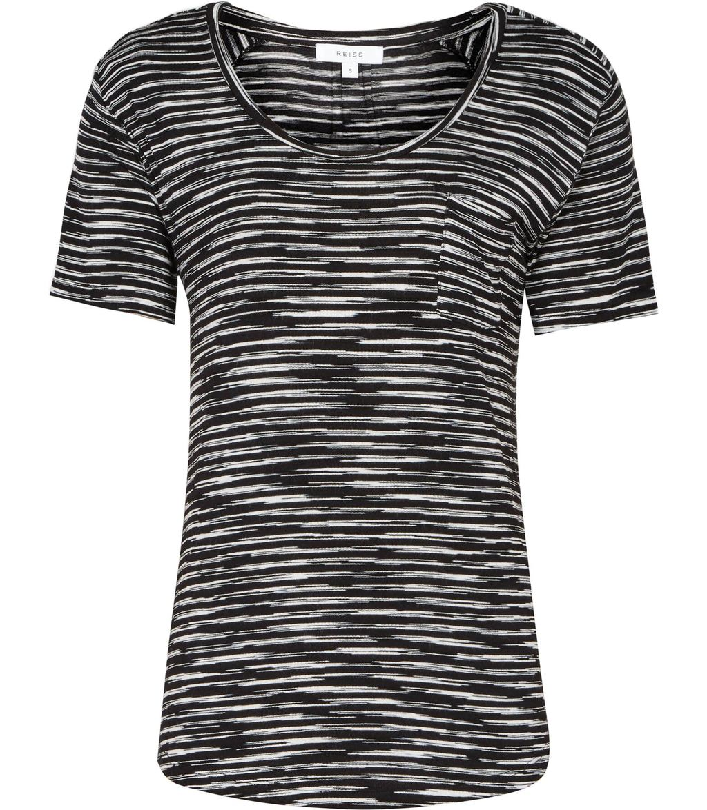 Alva Womens Stripe T Shirt In White - pattern: striped; style: t-shirt; predominant colour: black; occasions: casual; length: standard; neckline: scoop; fibres: polyester/polyamide - stretch; fit: body skimming; sleeve length: short sleeve; sleeve style: standard; trends: monochrome; pattern type: fabric; texture group: jersey - stretchy/drapey; pattern size: big & busy (top); season: s/s 2016; wardrobe: highlight