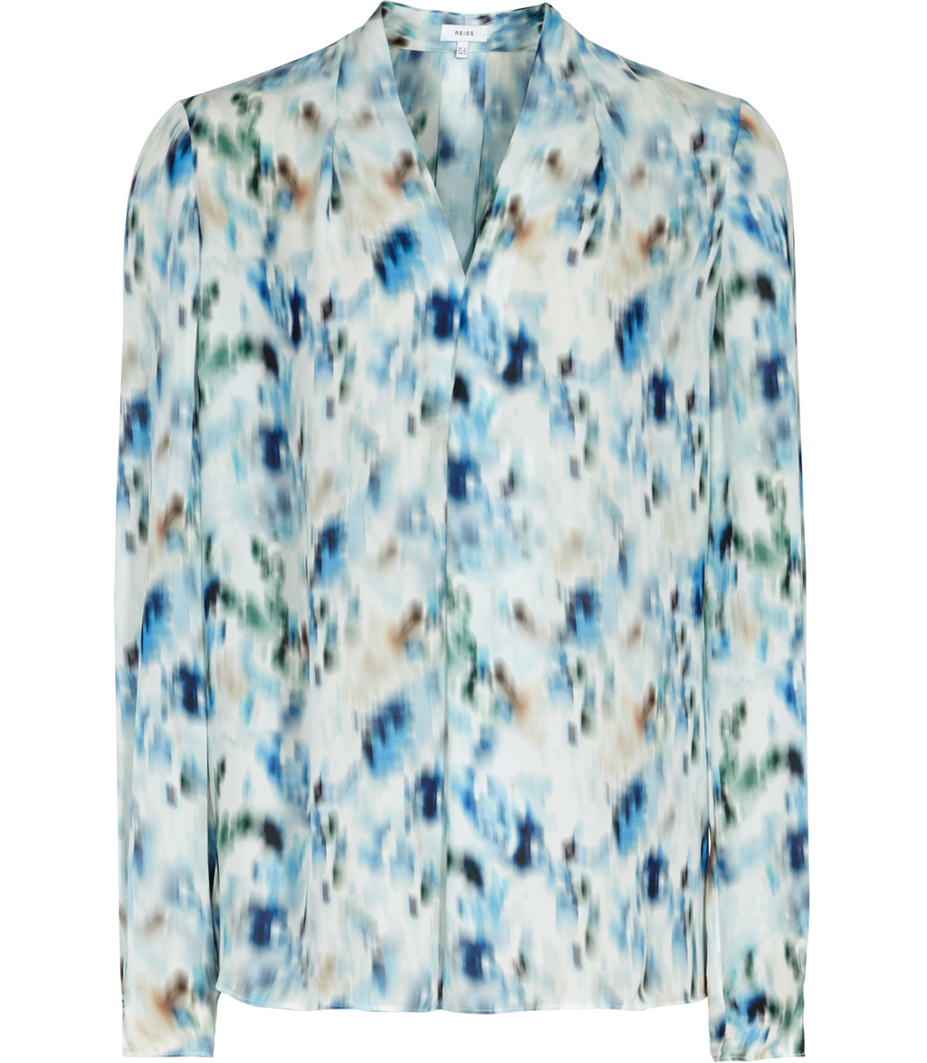 Lily Womens Printed Blouse In Blue - neckline: v-neck; style: blouse; predominant colour: white; secondary colour: diva blue; occasions: casual, creative work; length: standard; fibres: silk - 100%; fit: straight cut; sleeve length: long sleeve; sleeve style: standard; pattern type: fabric; pattern: patterned/print; texture group: woven light midweight; multicoloured: multicoloured; season: s/s 2016