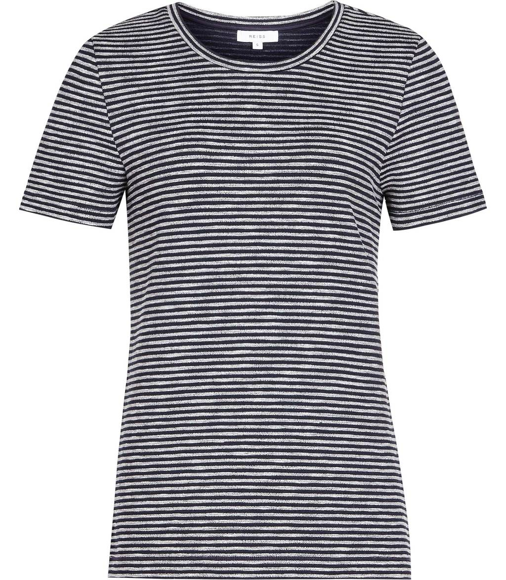 Maria Womens Striped Jersey T Shirt In Blue - pattern: striped; style: t-shirt; secondary colour: white; predominant colour: navy; occasions: casual; length: standard; fibres: cotton - stretch; fit: body skimming; neckline: crew; sleeve length: short sleeve; sleeve style: standard; texture group: jersey - clingy; pattern type: fabric; season: s/s 2016; wardrobe: highlight