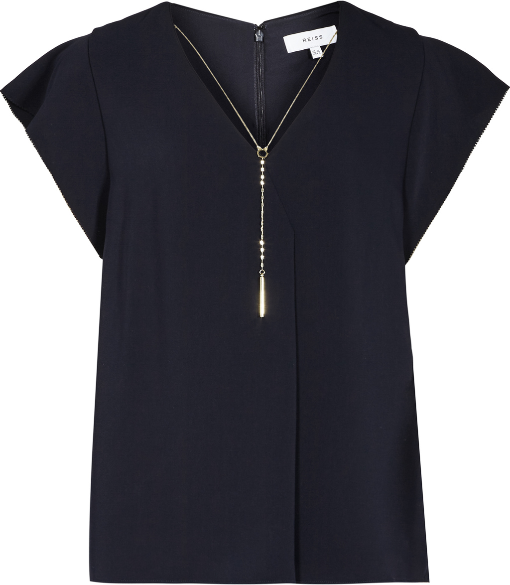 Zana Womens Chain Detail Top In Blue - neckline: v-neck; sleeve style: capped; pattern: plain; predominant colour: navy; occasions: casual, creative work; length: standard; style: top; fibres: polyester/polyamide - 100%; fit: body skimming; sleeve length: short sleeve; pattern type: fabric; texture group: jersey - stretchy/drapey; season: s/s 2016; wardrobe: basic; embellishment location: bust