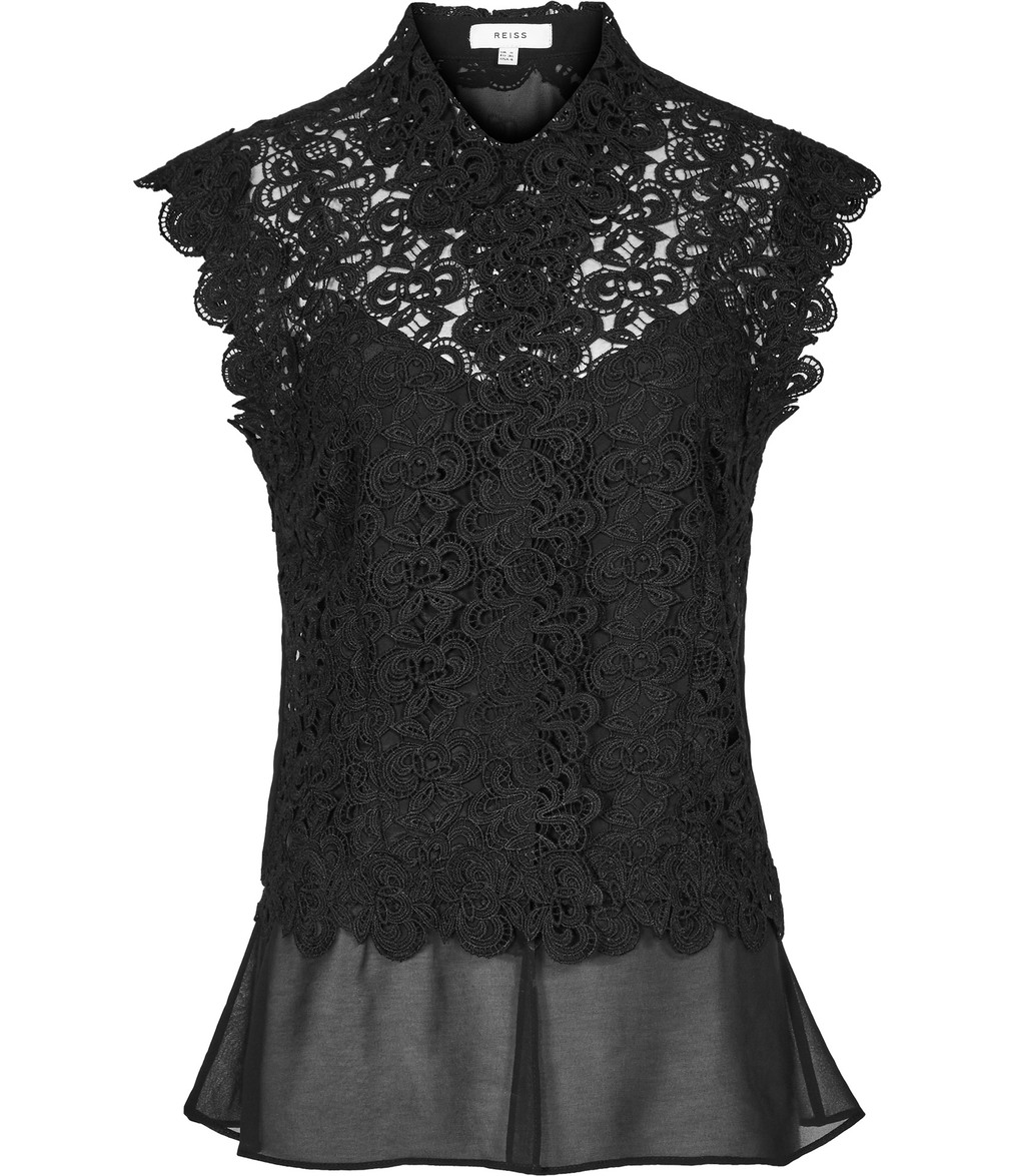 Nikki Womens Sheer Lace Top In Black - neckline: shirt collar/peter pan/zip with opening; sleeve style: capped; predominant colour: black; occasions: evening; length: standard; style: top; fibres: polyester/polyamide - 100%; fit: body skimming; sleeve length: short sleeve; texture group: lace; pattern type: fabric; pattern: patterned/print; embellishment: lace; season: s/s 2016; wardrobe: event