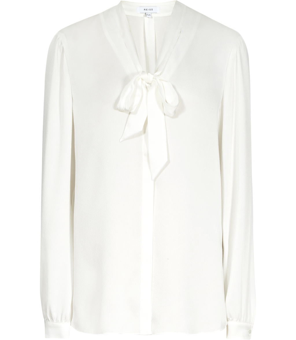 Tatou Womens Textured Blouse In White - pattern: plain; neckline: pussy bow; style: blouse; predominant colour: white; occasions: work; length: standard; fibres: silk - 100%; fit: body skimming; sleeve length: long sleeve; sleeve style: standard; texture group: sheer fabrics/chiffon/organza etc.; pattern type: fabric; season: s/s 2016