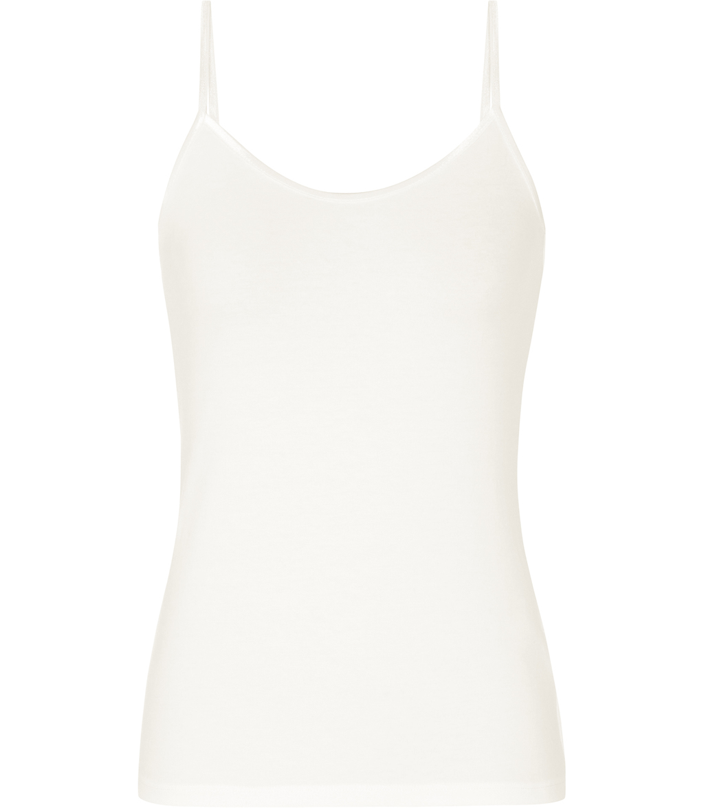 Camellia Womens Jersey Cami Top In White - sleeve style: spaghetti straps; pattern: plain; style: camisole; predominant colour: ivory/cream; occasions: casual, holiday; length: standard; neckline: scoop; fibres: viscose/rayon - stretch; fit: body skimming; sleeve length: sleeveless; pattern type: fabric; texture group: jersey - stretchy/drapey; season: s/s 2016; wardrobe: basic
