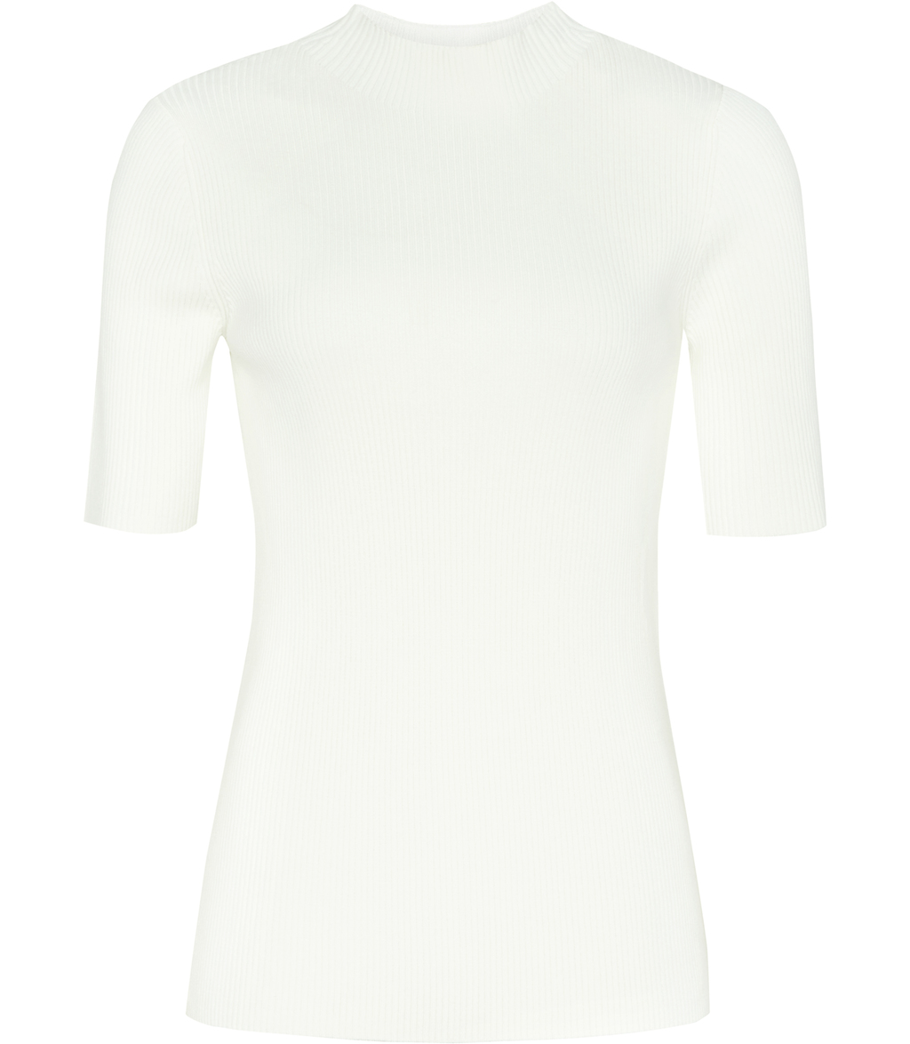 Evangelina Womens High Neck Knitted Top In White - neckline: round neck; pattern: plain; predominant colour: white; occasions: casual, work, creative work; length: standard; style: top; fibres: wool - mix; fit: body skimming; sleeve length: half sleeve; sleeve style: standard; pattern type: fabric; texture group: jersey - stretchy/drapey; season: s/s 2016