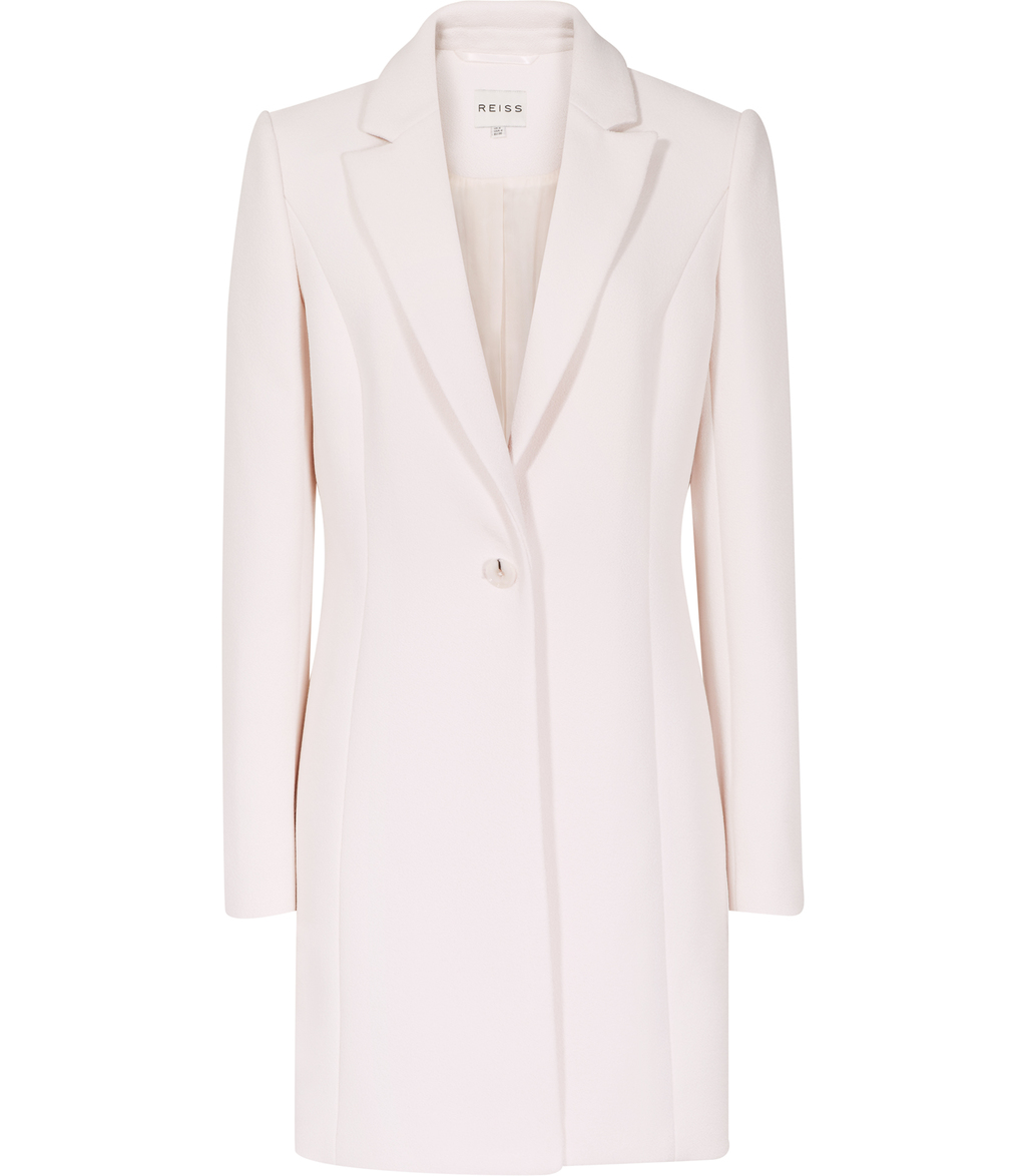 Argento Womens Longline Tailored Coat In White - pattern: plain; style: single breasted; collar: standard lapel/rever collar; length: mid thigh; predominant colour: ivory/cream; occasions: evening; fit: tailored/fitted; fibres: polyester/polyamide - 100%; sleeve length: long sleeve; sleeve style: standard; collar break: medium; pattern type: fabric; texture group: woven bulky/heavy; season: s/s 2016; wardrobe: event