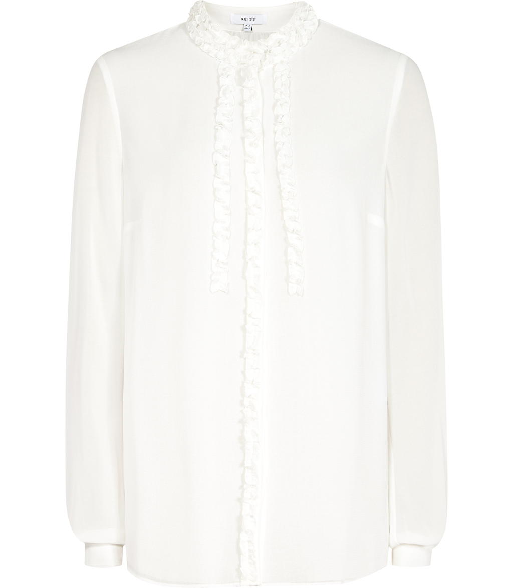 Serena Womens Ruffle Front Blouse In White - pattern: plain; sleeve style: balloon; style: blouse; bust detail: subtle bust detail; predominant colour: white; occasions: work, creative work; length: standard; neckline: collarstand; fibres: silk - 100%; fit: straight cut; sleeve length: long sleeve; texture group: silky - light; pattern type: fabric; season: s/s 2016; wardrobe: basic