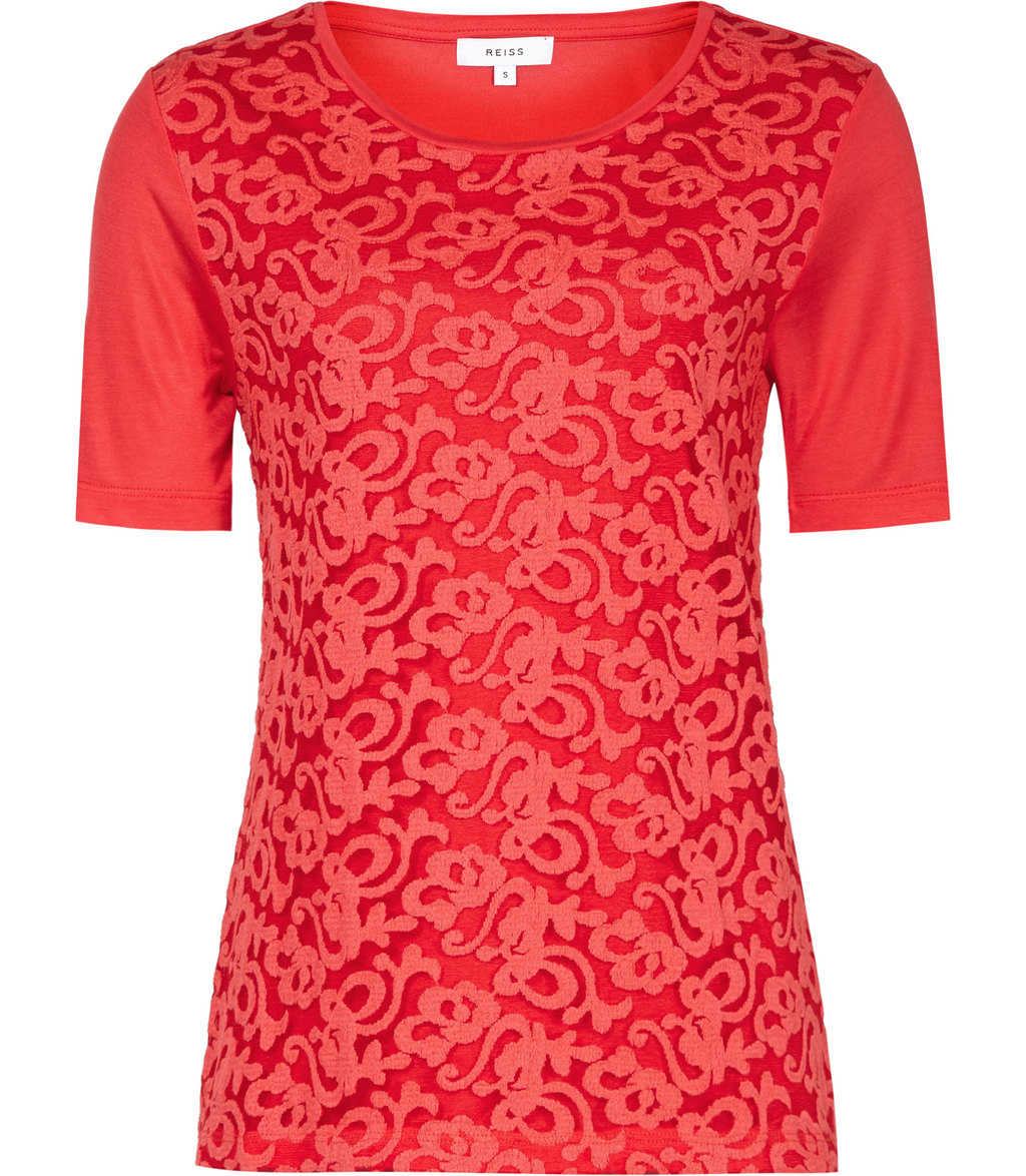 Yoko Womens Lace Front T Shirt In Red - style: t-shirt; predominant colour: true red; occasions: casual, creative work; length: standard; fibres: polyester/polyamide - 100%; fit: body skimming; neckline: crew; sleeve length: short sleeve; sleeve style: standard; texture group: lace; pattern type: fabric; pattern size: standard; pattern: patterned/print; season: s/s 2016; wardrobe: highlight
