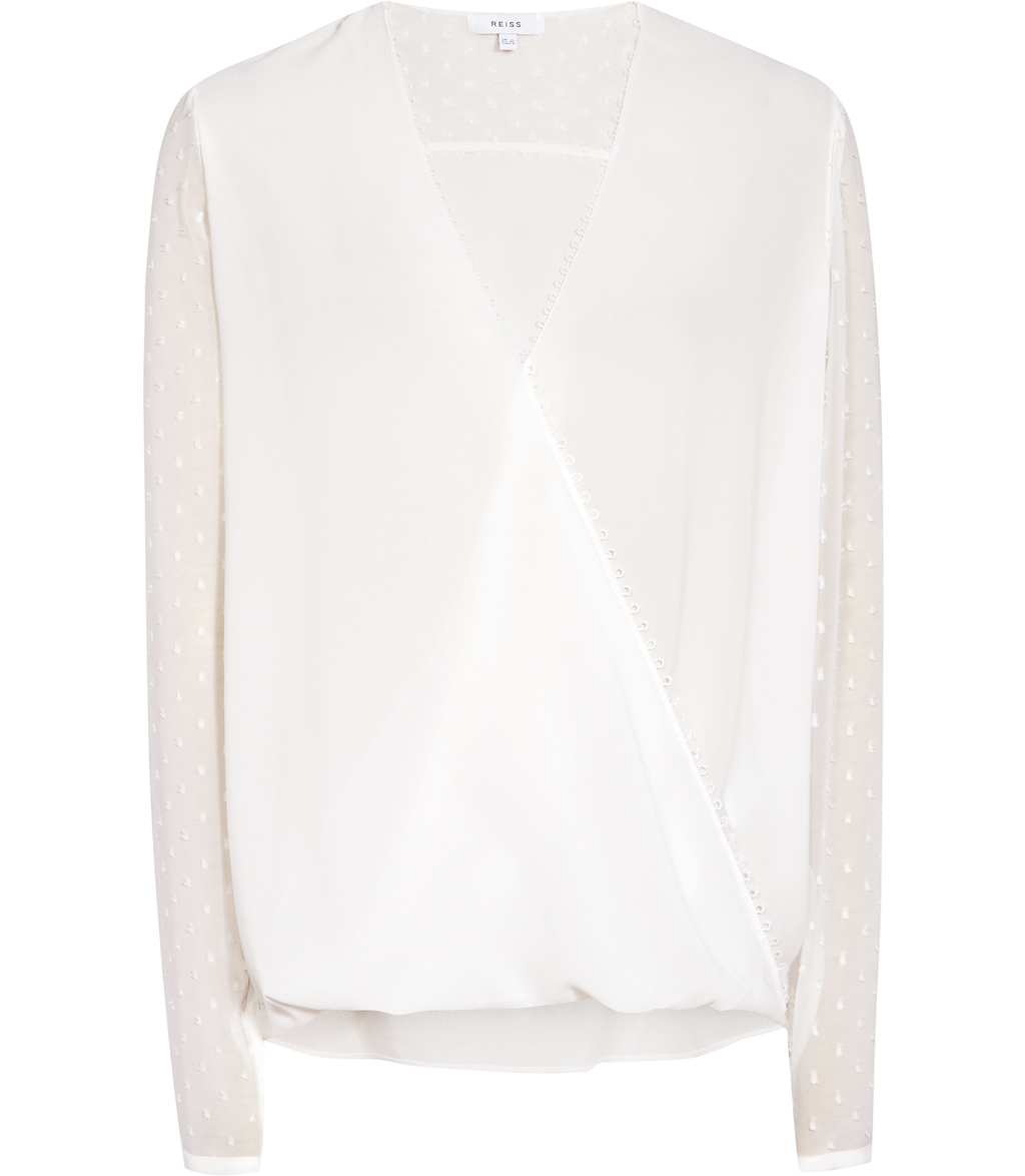 Faithful Womens Textured Wrap Top In White - neckline: v-neck; pattern: plain; predominant colour: white; occasions: work, creative work; length: standard; style: top; fibres: silk - 100%; fit: loose; sleeve length: long sleeve; sleeve style: standard; texture group: sheer fabrics/chiffon/organza etc.; pattern type: fabric; season: s/s 2016; wardrobe: basic
