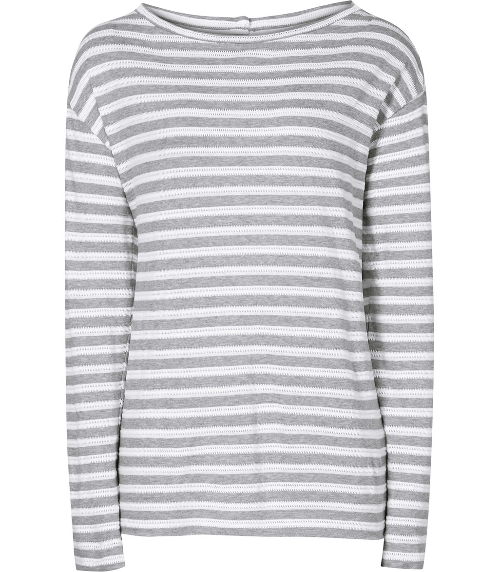 Quinnine Womens Striped Jersey Top In White - neckline: slash/boat neckline; pattern: horizontal stripes; length: below the bottom; secondary colour: ivory/cream; predominant colour: light grey; occasions: casual, creative work; style: top; fibres: cotton - 100%; fit: straight cut; sleeve length: long sleeve; sleeve style: standard; pattern type: fabric; texture group: jersey - stretchy/drapey; season: s/s 2016; wardrobe: basic