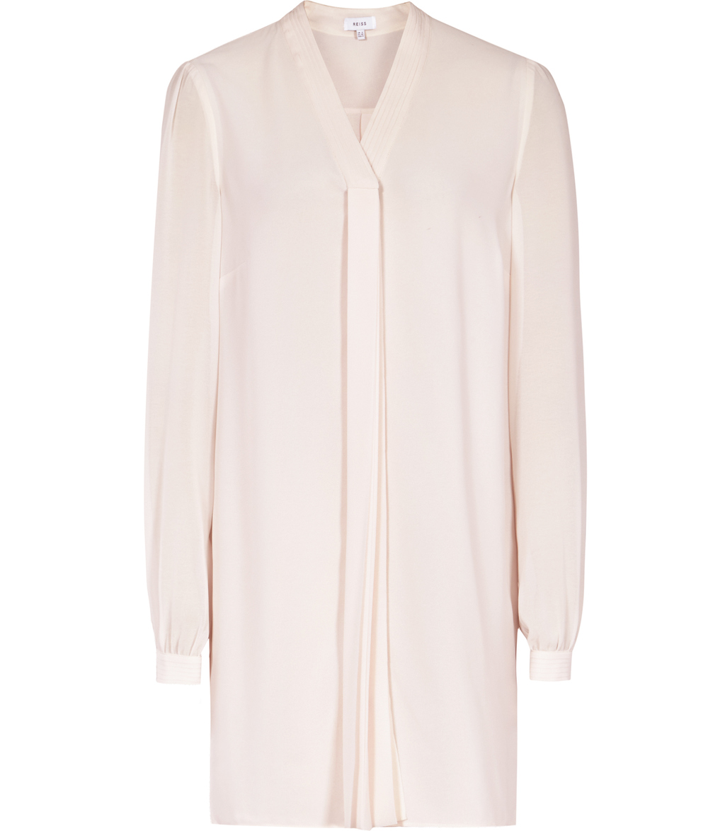Santana Womens Plisse Detail Shirt In Ballet Pink - neckline: v-neck; pattern: plain; length: below the bottom; style: shirt; predominant colour: blush; occasions: evening; fibres: polyester/polyamide - 100%; fit: body skimming; sleeve length: long sleeve; sleeve style: standard; texture group: silky - light; pattern type: fabric; season: s/s 2016; wardrobe: event
